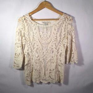 American Rag Cream Lace Shirt